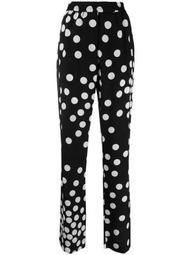 polka-dot straight-leg trousers