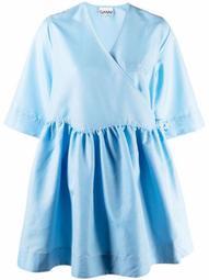 wide-sleeves wrap dress