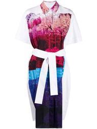 photographic print cotton shirt dress