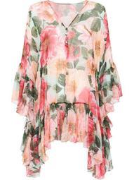 draped floral-print minidress