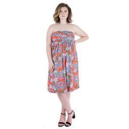 24seven Comfort Apparel Women's Plus Orange Paisley Strapless Mini Dress