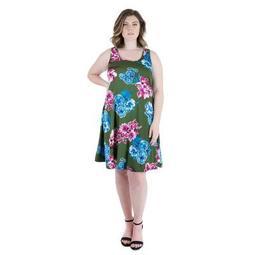 24seven Comfort Apparel Women's Plus Floral Sleeveless Dress