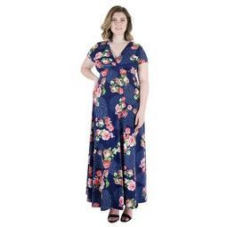 24seven Comfort Apparel Women's Plus Floral Cap Sleeve Maxi Dress
