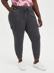 Relaxed Fit Cargo Crop Jogger - Everyday Fleece Charcoal Heather