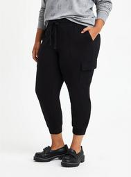 Relaxed Fit Cargo Crop Jogger - Everyday Fleece Black