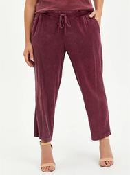 Drawcord Trouser - Stretch Challis Burgundy Wash