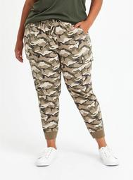 Relaxed Fit Cargo Crop Jogger - Stretch Challis Camo Wash