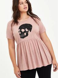 Babydoll Top - Heritage Slub Skull Pink