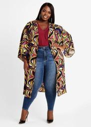 Swirl Print Maxi Kimono Jacket