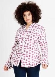 Classic Lips Print Button Up Top
