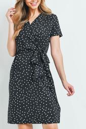 Polka-Dot-Suplice-Neckline-Ribbon-Detail-Dress