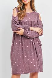 Cold-Should-Polka -Dot-Above-Knee-Dress