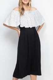 Printed-Off-Shoulder-Solid-Hem-Midi-Dress