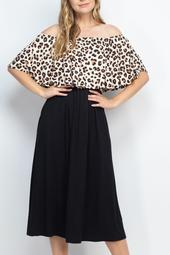 Leopard-Off-Shoulder-Solid-Hem-Midi-Dress