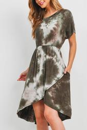 Cinch-Wais- Tie-Dy- Wra- Hem-Dress