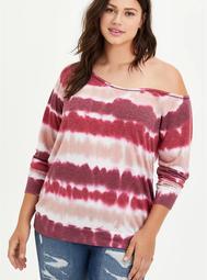 Off-Shoulder Sweatshirt - Tie Dye Wine