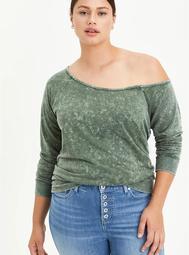 Off Shoulder Sweatshirt - Mineral Wash Grey
