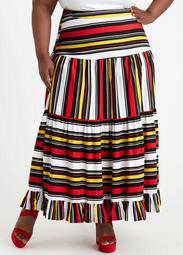 Stripe Ruffle High Waist Maxi Skirt