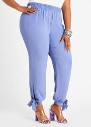 High Waist Crepe Ankle Tie Jogger