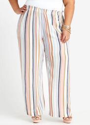 Striped Smocked Waist Wide Leg Pant