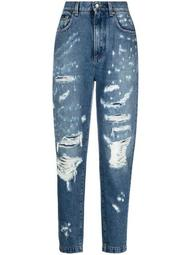 ripped tapered jeans