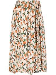 tulip-print pleated skirt