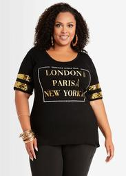 Sequin London Paris NY Graphic Tee