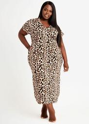 Cozy Lounge Leopard Rib Maxi Dress