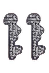 Pave Swizzle Stick Stud Earrings