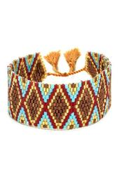 Brown, Red, & Turquoise Glass Beaded Cuff Bracelet