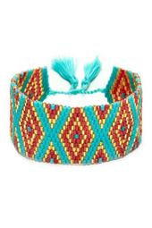 Red, Metallic, & Teal Glass Beaded Cuff Bracelet