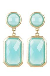 18K Gold Clad Faceted Aqua Chalcedony Crystal Double Drop Earrings
