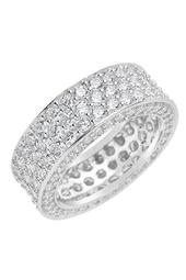 Sterling Silver Triple CZ Pave Band Ring