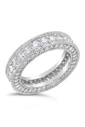 Sterling Silver Engraved CZ Band Ring