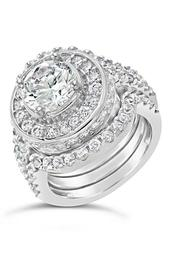 Sterling Silver CZ Round Ring & 2 Bands