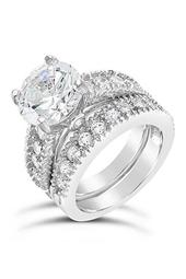Sterling Silver Brilliant CZ Ring & Band