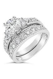 Sterling Silver CZ Brilliant Ring & Band