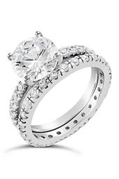 Sterling Silver Solitaire CZ Ring & Band