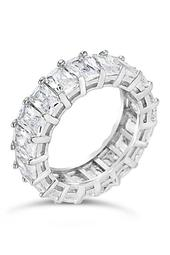 Sterling Silver Emerald CZ Eternity Band