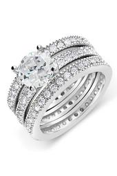 Sterling Silver Brilliant CZ Ring & 2 Bands