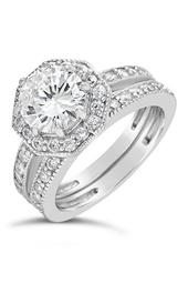 Sterling Silver Octagon CZ Ring & Band