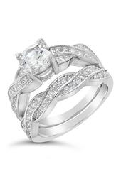 Sterling Silver CZ Round Ring & Twisted Band