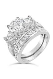 Sterling Silver CZ Past Present Future Ring & Band