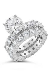 Sterling Silver Round CZ & Full Band