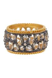 Rhodium & 14K Gold Plated Sterling CZ Silver Anniversary Cigar Band Ring