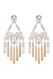 Three-Tone Bezel Set Swarovski Crystal & Fringe Chandelier Earrings