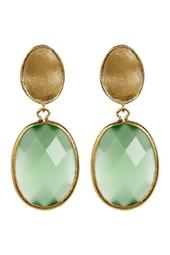 18K Yellow Gold Clad Faceted Lime Green Cat's Eye Crystal Oval Drop Satin Earrings