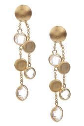 Cascading Pebble & Rock Crystal Dangle Post Earrings