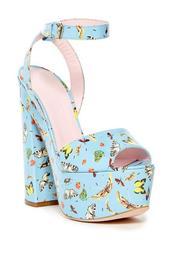 Vernice Stampa Butterfly Platform Sandal