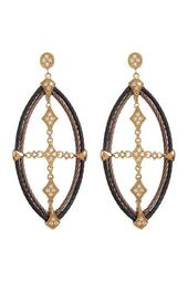 18K Yellow Gold, Stainless Steel, Black & Bronze PVD Diamond Cross Drop Earrings - 0.44 ctw